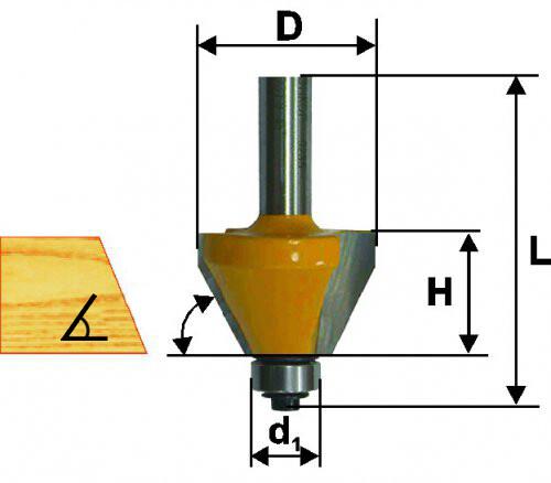 Фреза кромочная конусная d 19 х 13 мм, 15 град., хвостовик 8 мм