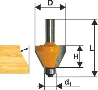 Фреза кромочная конусная d 44,5 х 23 мм, 45 град., хвостовик 8 мм
