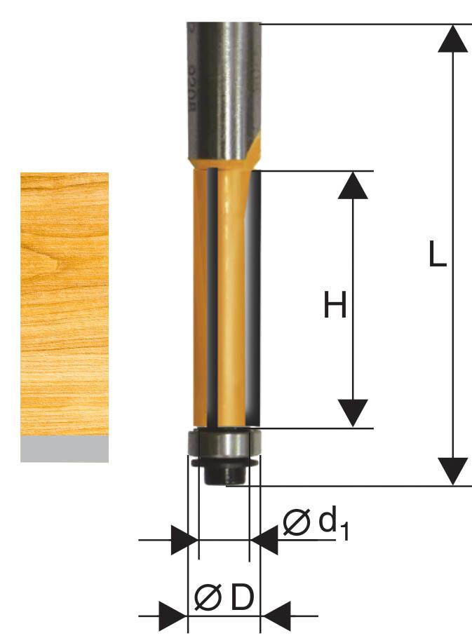 Фреза кромочная прямая d 12,7 х 25 мм, хвостовик 8 мм