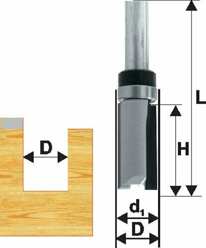 Фреза кромочная прямая d 19 х 38 мм, хвостовик 12 мм, по ДСП