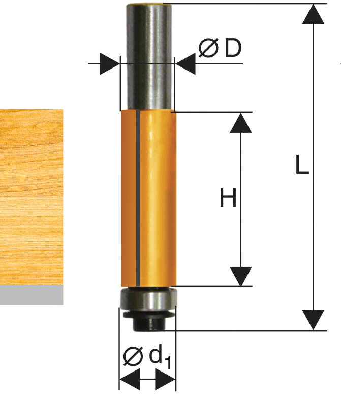 Фреза кромочная прямая d 22,2 х 26 мм, хвостовик 12 мм