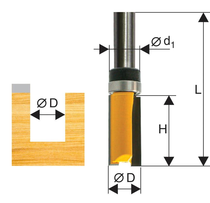 Фреза кромочная прямая d 6,35 х 19 мм, хвостовик 8 мм