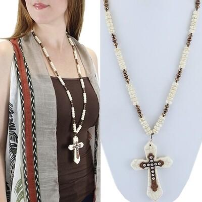 Ivory & Bronze Beaded Cross Necklace 72096