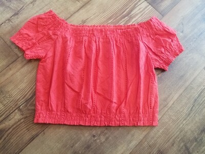 Off Shoulder Embroidered Crop Top IT10923 Red Large