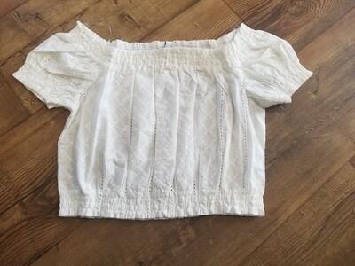 Off Shoulder Embroidered Crop Top IT10923 White Medium