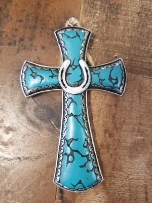 Small Cross Teal
