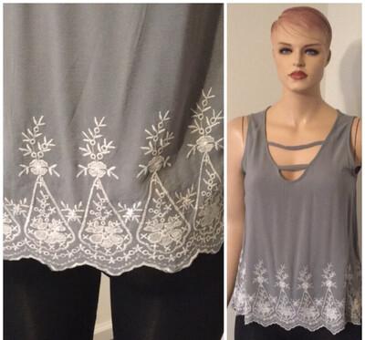 Curvy Grey Bottom Embroidery Hem Pullover Tops