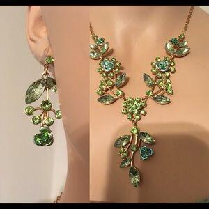 Mint Green Rhinestones Jewelry Set