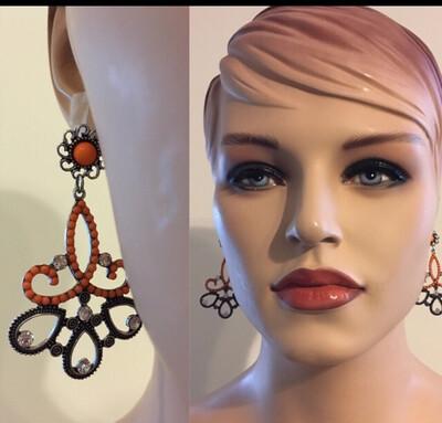 Bohemian Orange Vintage Post Earrings