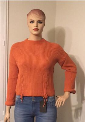 Curvy Orange Lace Up Sweater