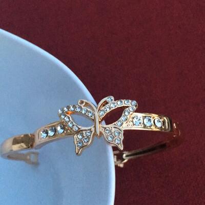 Gold Hollow Out Butterfly Stones Bangle Bracelets