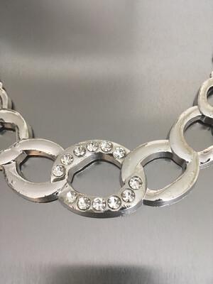 Silver Rhinestone Link Chain Pendant Necklace