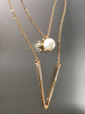 Gold Chain Rhinestone Pearl Ball Necklace