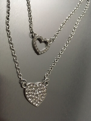 Silver Multi-Chain Rhinestone Heart Pendants Necklace