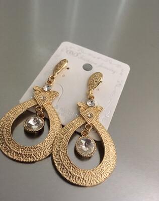Gold Post Stone Dangle Earrings