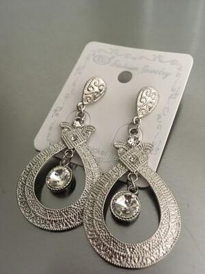 Silver Post Stone Dangle Earrings