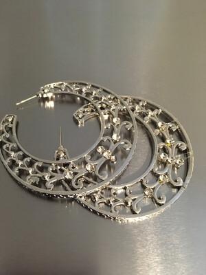 Silver Rhinestone Hoop Post Earrings