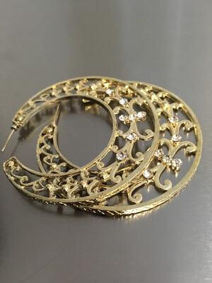 Gold Plated Rhinestone Hoop Post Earrings
