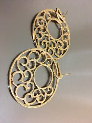 Gold Round Hollow Out Post Earrings