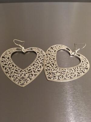 Silver Filigree Hook Heart Earrings