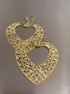 Gold Filigree Hook Heart Earrings