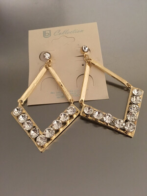 Gold Stones Triangle Post Earrings