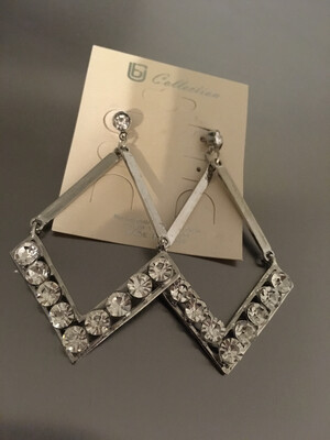 Silver Stones Triangle Post Earrings