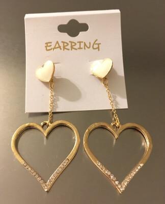 Gold Stone Heart Post Dangle Earrings