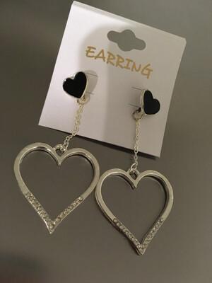 Silver Stone Heart Post Dangle Earrings