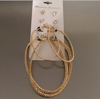 Gold Multi Pack Hoop Stones Earrings Pack