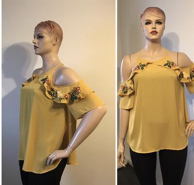 Curvy Janette Plus  Stylish Mustard Cold Shoulder Floral Trim Tops