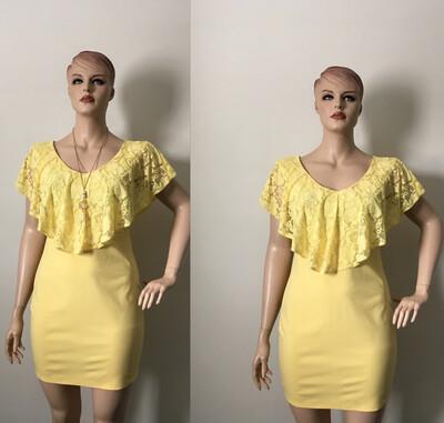 Curvy Freesia Mini Yellow Stylish Ruffle Lace Dresses