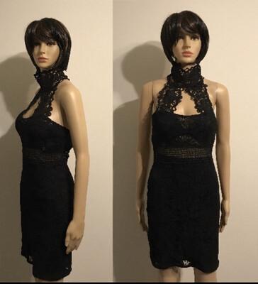 Black Lace Back Out Mini Dress
