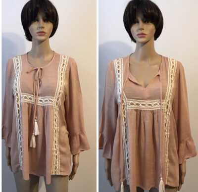 Tassels N Lace Cream Blush Pullover Ruffle Embroidery Tops