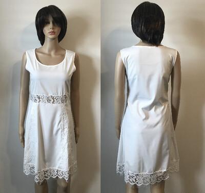 White Chiffon Bottom Lace Midi Dress
