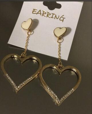 Gold Dangle Post Stone Heart Earrings