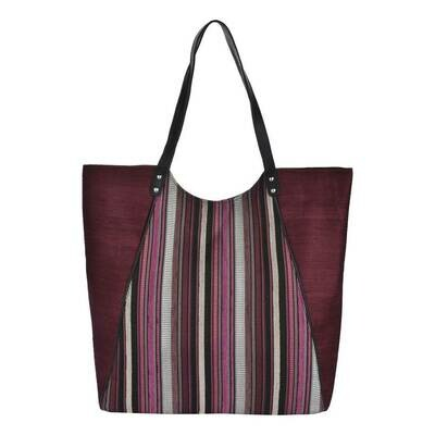 Fhb7 Designer Shopping Bags LE - Maroon Stripes