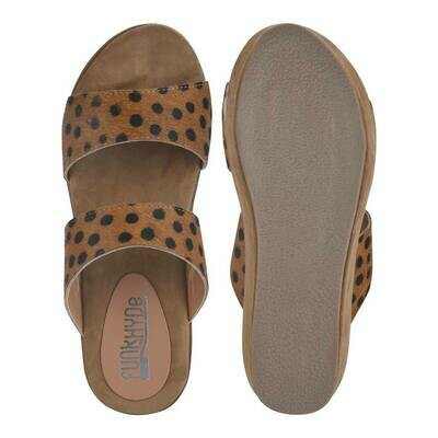 Fh2 Ladies Leather Mules - Tan Polka Dots