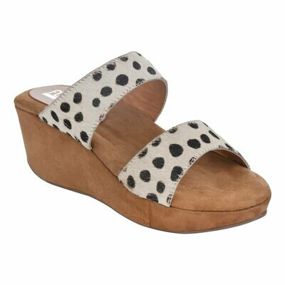 Fh2 Ladies Leather Mules - Beige Polka Dots