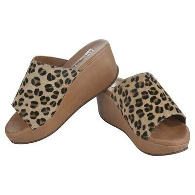 Fh1 Ladies Leather Mules - Leopard