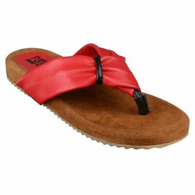 Fh4 Ladies Leather Flip Flops - Red