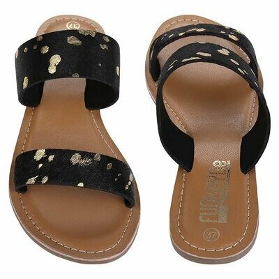 Fh5 Ladies Leather Mules - Black/Gold