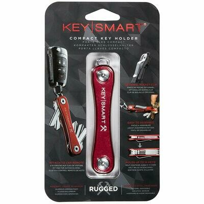 KeySmart Rugged - Multi-Tool Key Holder with Bottle Opener and Pocket Clip (up to 20 Keys, Red)