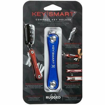 KeySmart Rugged - Multi-Tool Key Holder with Bottle Opener and Pocket Clip (up to 20 Keys, Blue)