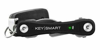 KeySmart Pro - Compact Key Holder w LED Light & Tile Smart Technology, Track your Lost Keys & Phone w Bluetooth (up to 20 Keys, Black)