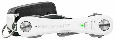 KeySmart Pro - Compact Key Holder w LED Light & Tile Smart Technology, Track your Lost Keys & Phone w Bluetooth (up to 20 Keys, White)