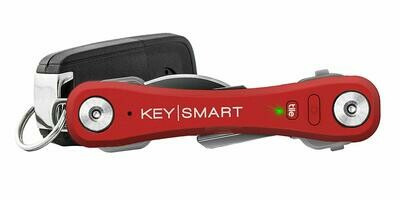 KeySmart Pro - Compact Key Holder w LED Light & Tile Smart Technology, Track your Lost Keys & Phone w Bluetooth (up to 20 Keys, Red)