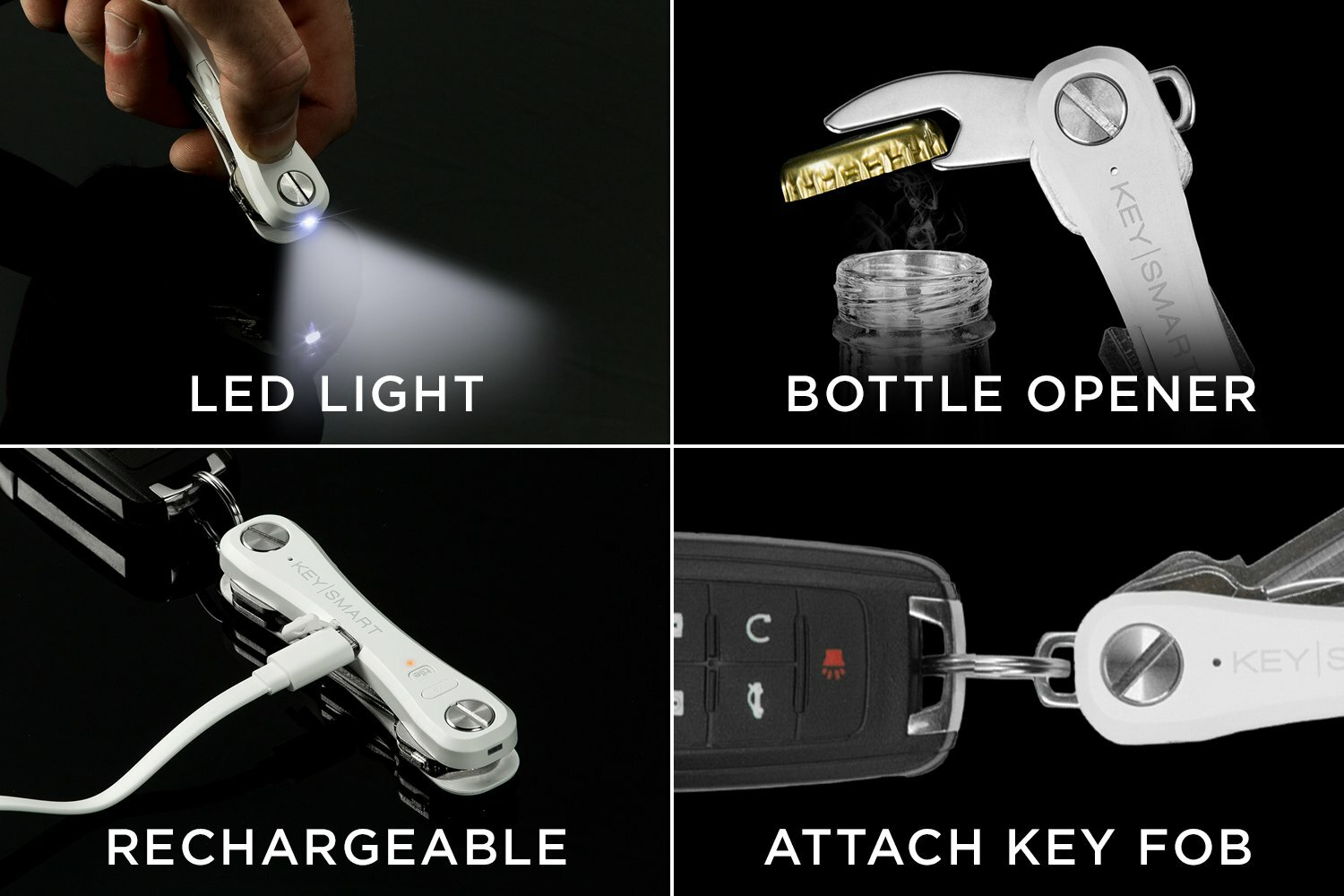 KeySmart Pro Compact Key Holder with LED Light and Tile Smart Technology to Track your Lost Keys and Phone with GPS 2-10 Keys, White
