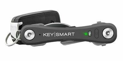 KeySmart Pro - Compact Key Holder w LED Light & Tile Smart Technology, Track your Lost Keys & Phone w Bluetooth (up to 20 Keys, Slate)
