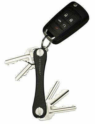KeySmart Leather - Compact Key Holder & Pocket Keychain Organizer (up to 20 Keys, Black)